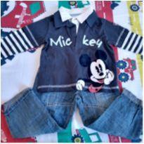 Conjunto Mickey camisa polo e calça jeans - 12 a 18 meses - Disney
