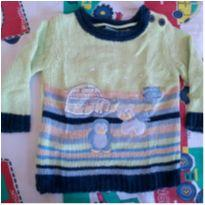 Suéter  Baby Way azul/verde - 3 a 6 meses - Baby Way