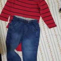 Conjunto de body e Jeans - 9 a 12 meses - Clube do Doce e Baby Club
