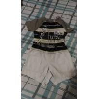 Macacão estilo camisa e shorts , super fofo - 3 meses - GiraBaby