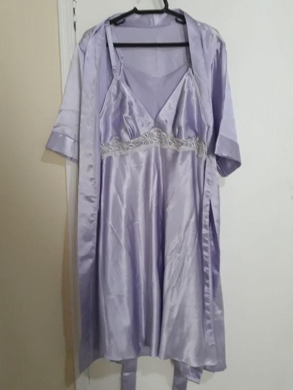 e22c12990 Robe e camisola de Cetim gestante amamentação lilás. P - 38 no Ficou ...