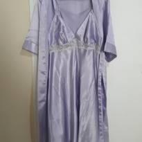 Robe e camisola de Cetim gestante/amamentação lilás. - P - 38 - RMD