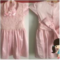 5001 - Vestido Renda e Cetim Rosa - 1 ano - Anjos baby e Anjos Chic