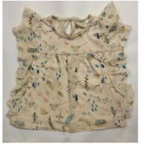 1001 - Blusa bege com estampa floral ZARA - 12 a 18 meses - Zara Baby e Zara