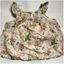 Blusa Branca Florida - 12 a 18 meses - Zara Baby