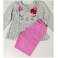 8103 - Pijama Rosa Gatinha - 2 anos - Kily