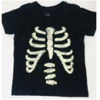 1014 - Camiseta Preta Caveira - 1 ano - Poim, Cherokee e Up Baby
