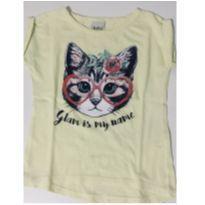 1017 - Camiseta Amarela Gato - 4 anos - KiKA