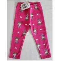 Calça legging flanelada bailarinas rosa Kyly - 2 anos - Kyly