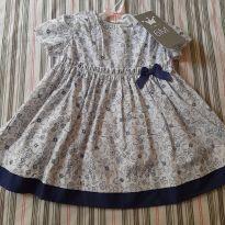 Vestido floridinho  azul e branco - 6 meses - EPK