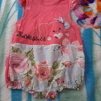 Macacão Romper rosa floridinho - 6 meses - Travessu`s