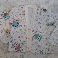Casaquinho tricot estampa de corujinha - Único - Não informada e Marca não registrada