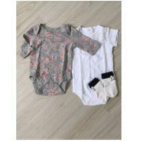 Kit 2 bodies 1 par de meias - 3 meses - Diversas