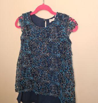 Vestido azul escuro com renda Zara - 5 anos - Zara