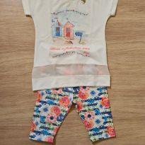Conjunto blusa e shorts ciclista casinhas com strass - 6 anos - Pinoti Baby