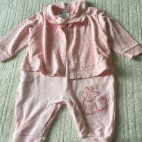 Macacão com casaquinho oncinha rosa - 6 a 9 meses - Boulevard Baby