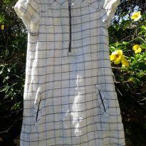 Vestido em tecido cru, forrado, tamanho 7/8 - Marca Zara - 7 anos - Zara