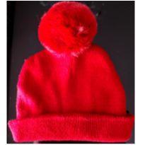 Touca de lã com pompom vermelho -  - Sem marca