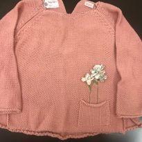 Blusa em lã - Zara com aplicação de flores - 24 a 36 meses - Zara