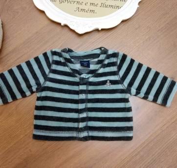 Casaco Blusa Microfleece Plush Listrado - Baby Gap - Tam 6 Meses - 6 meses - Baby Gap