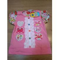Camiseta Rosa Colorida com Strass e Bordado - Tam 2 a 3 anos - NOVO - 2 anos - Não informada