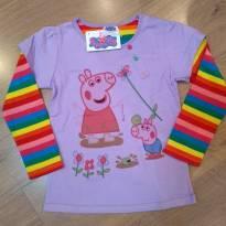 Camiseta Lilás Mangas Listradas Peppa Pig Tam 5 a 6 anos NOVA - 5 anos - Peppa Pig