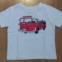 Camiseta Baby Gap Caminhão de Bombeiros - Tam 12 a 18 meses