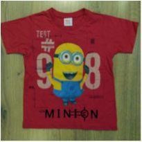 Camiseta Minions Vermelha Tam 4 - 4 anos - Meu Malvado Favorito 2