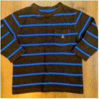 Blusa Baby Gap Azul e Marrom listrada - 18 a 24 meses - 18 a 24 meses - Baby Gap