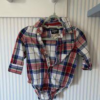 Body de camisa xadrez Oshkosh usado 1x - 3 a 6 meses - OshKosh