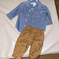 Conjunto calça caqui e camisa jeans Carter's - usado 1x