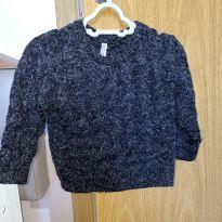 Suéter trança (pelinhos) preto - 12 a 18 meses - Mimo Mox
