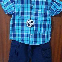 Conjunto Camisa xadrez e bermuda - tam. 2 - 12 a 18 meses - yoyo Baby