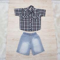 Conjuntinho camisa e bermudinha jeans G