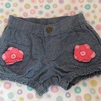 Short jeans aplicação flor Rosa 4T Gymboree (encanto, seminovo) - 3 anos - Gymboree