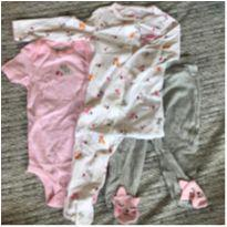 Conjunto - Trio (macacão Longo, Body Manga Curta E Calça) 9 M - 9 meses - Carter`s