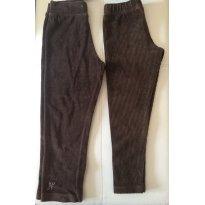 Kit - 1 legging veludo + 1 calça veludo - marrom - 4 anos - Vrasalon e Nini e Bambini