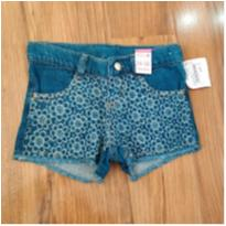 Shorts jeans floral - 24 a 36 meses - Baby Club