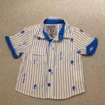 Camisa Branca listras Azuis - 3 a 6 meses - Tigor Baby
