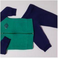 Conjunto Moletom Jaqueta Matelassê com Zíper - (Verde e Azul Marinho) (Cód.10) - 3 a 6 meses - Hrradinhos