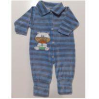 Macacão Plush Listrado com Bordado de Ursinho  (Azul com listras) (Cód. 014) - 6 a 9 meses - Sof & Enz Kids