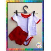 Kit Body 3 peças (Body + Regata + Short) - M - (Branco e Vermelho) (Cód. 008) - 6 a 9 meses - Tricae