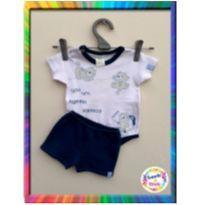 Conjunto Body + Short Tigrinho - BICHO MOLHADO - RN (Branco e Azul) (Cód.004) - 0 a 3 meses - Bicho Molhado