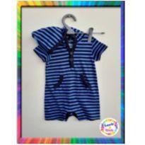 Macacão Curto Banho de Sol com Capuz - BABY GAP - P - (Azul Listrado) (Cód. 030)