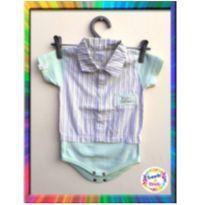 Body Camisa Bordado - BICHO MOLHADO - M (Verde Água e listras) (Cód. 044) - 3 a 6 meses - Bicho Molhado