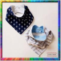 R$ 10,99 cada - 2 Babadores bandana (Âncora Marinho  e Chevron Azul) (Cód. 065) -  - Laura baby
