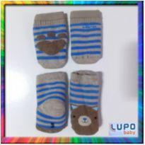 Kit Meia e Luva Ursinho Lupo - 0 à 4 meses (Beje e detalhes Azul) (Cód. 060) -  - Lupo