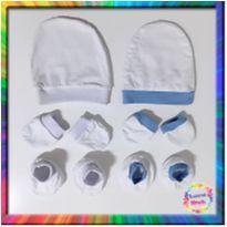 R$ 10,99 cada - 2 Kits Toucas, Luvas e Sapatinhos Bebê (Branco) (Cód. 058) - 3 a 6 meses - sem etiqueta