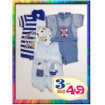LOTE 3 Macacões Banho de Sol - M - (Cód. 026) - 6 a 9 meses - Mafessoni e Smoby Baby