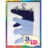 R$ 5,66 cada - LOTE com 3 Calças Mijão - RN - (Azul Claro e Marinho) (Cód. 034) - Recém Nascido - Bb2 e Pati Mini